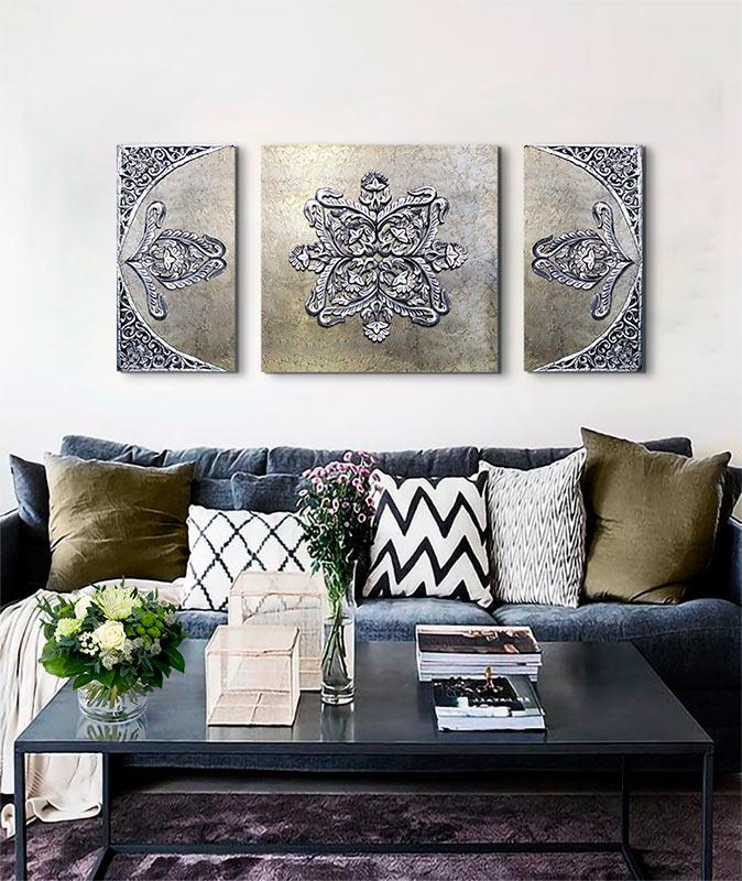 cuadros para sofas grises
