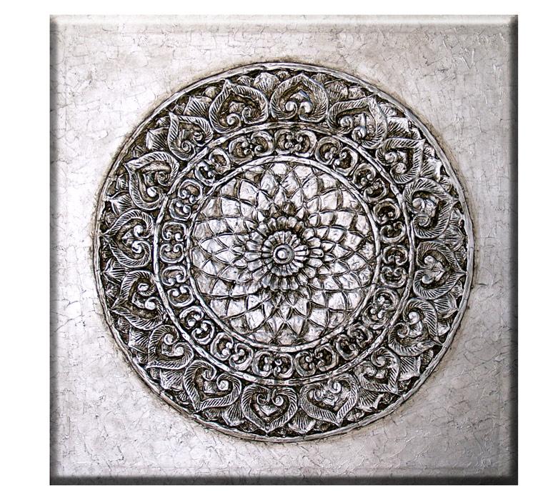 Estudio delier cuadro mandala roseton plata 100x100 for Cuadros plateados baratos