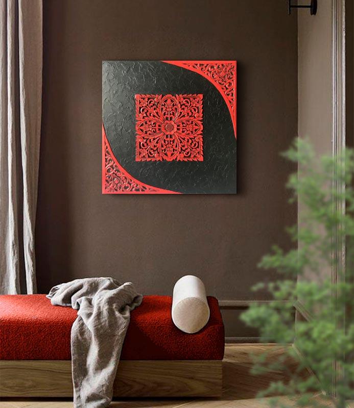 Cuadro mandala rojo zen