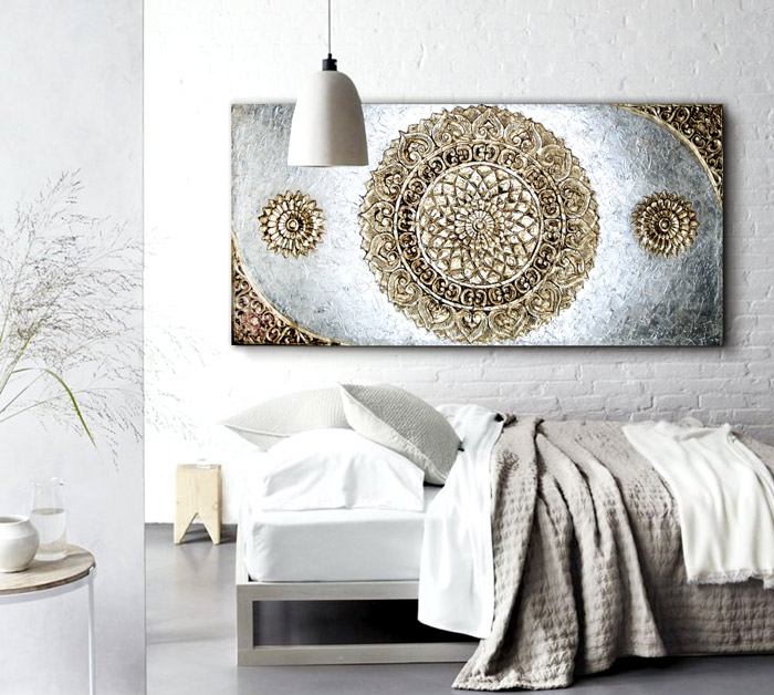 15 ideas para decorar con cuadros for Paredes orientales