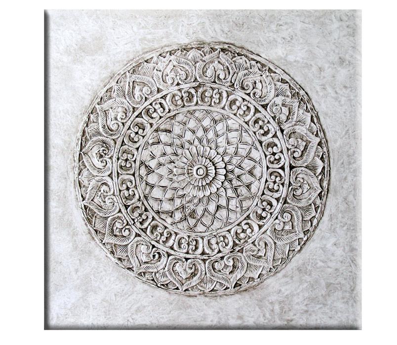 Estudio delier cuadro roseton mandala gris 100x100 - Cuadros mandalas ...