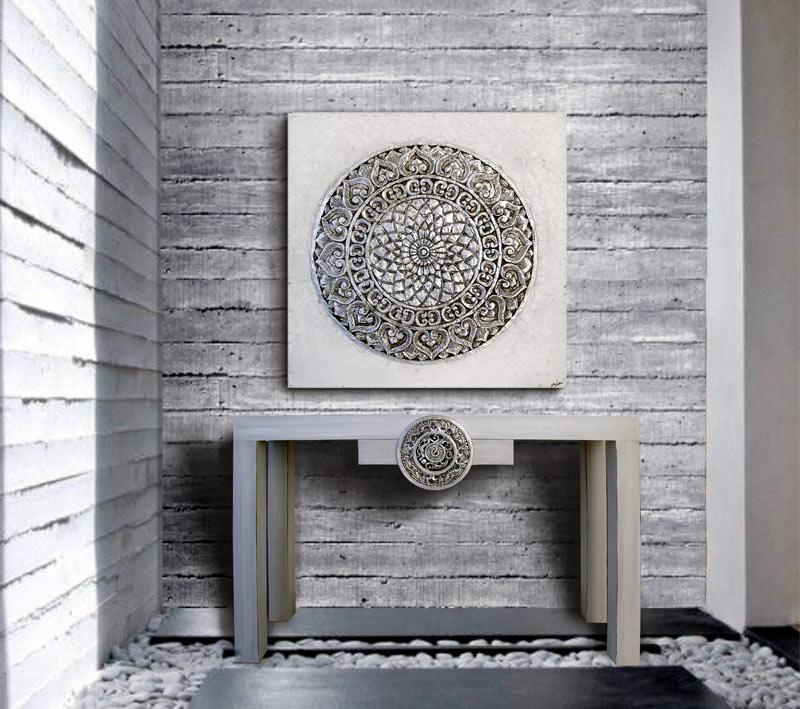 Estudio delier cuadro roseton mandala gris plata 100x100 - Cuadros mandalas ...
