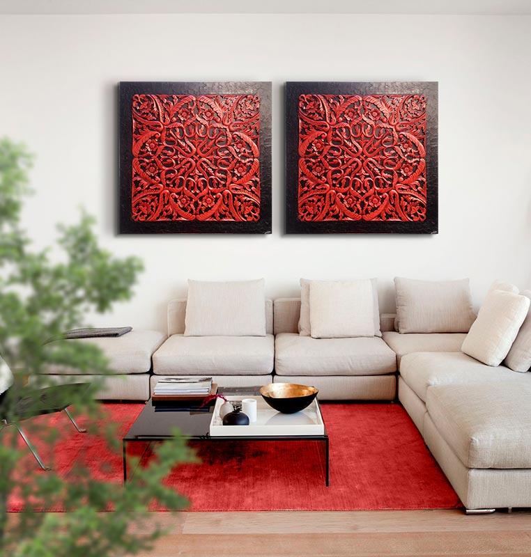 Cuadro rosetón mándala rojo