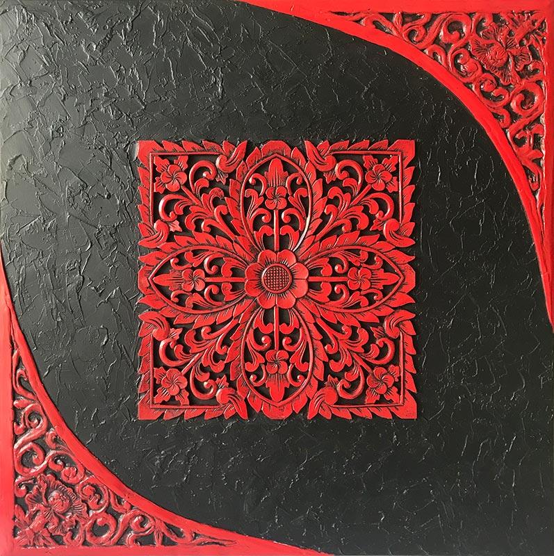 cuadros orientales en rojo