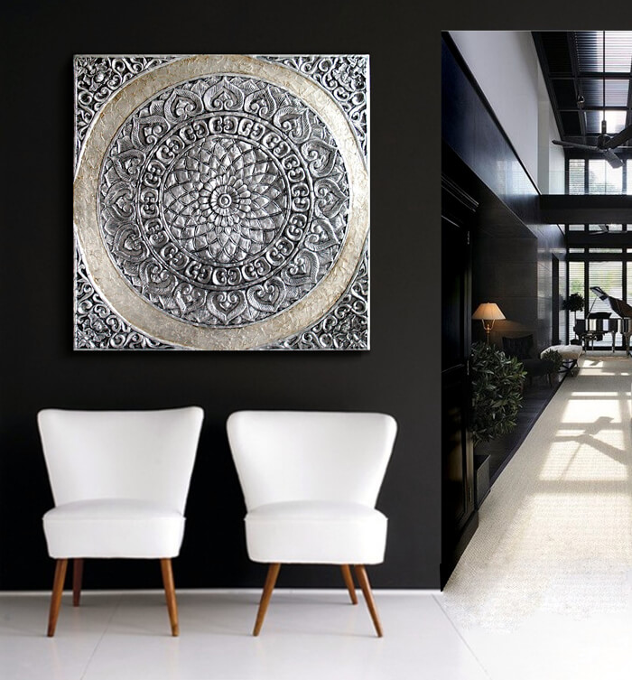 Estudio delier cuadro mandala roseton 100x100 zen - Decoracion con cuadros grandes ...