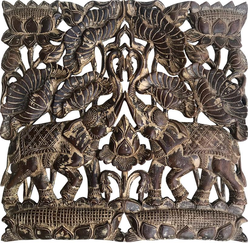 cuadros madera tallas elefantes