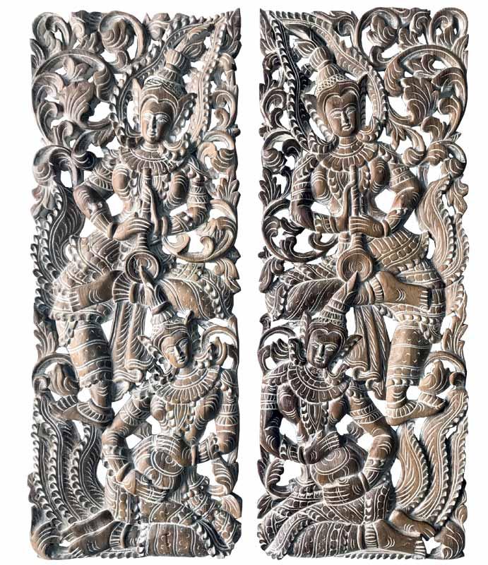 cuadros tallados antiguos deidades