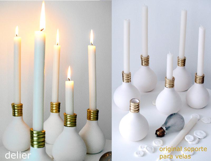 Estudio delier candelabro velas bombilla set de 2 - Velas de diseno ...