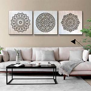 cuadros mandalas para el sofa