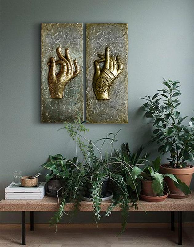 diptico manos para decorar la entrada