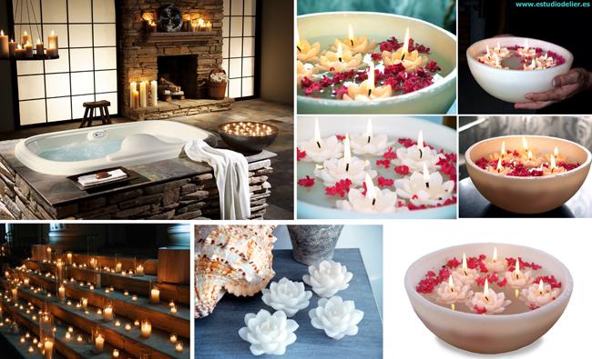 velas con agua utiliza cualquier jarrn fuente o copa de cristal llnala de agua y pon encima una vela flotando tambin si quieres puedes poner piedras