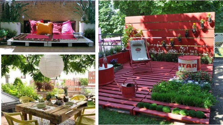 Crear muebles con palets reciclemos for Ideas decoracion jardines exteriores