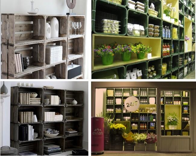 Ideas decorativas reciclando - Estanterias con cajas ...