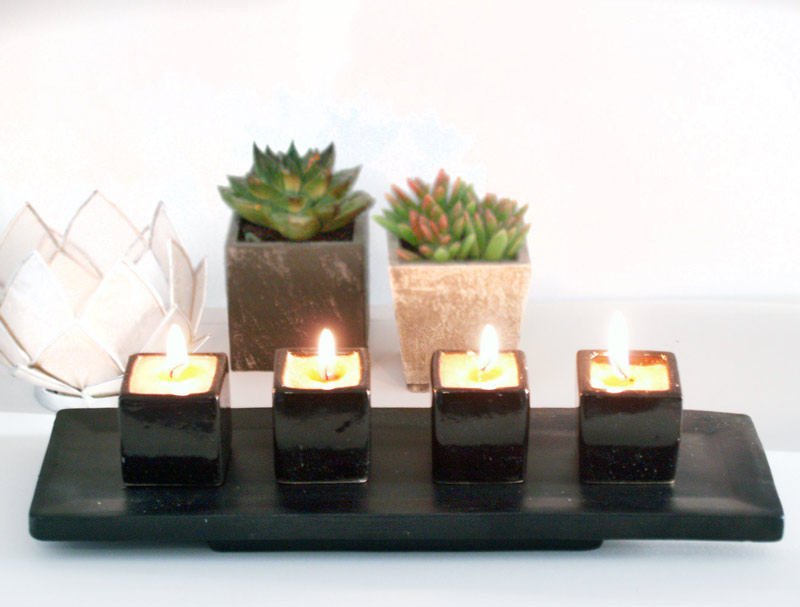 Decoracion Zen Velas ~   particulares  aromaterapia zen  velas parafina  soporte 4 velas