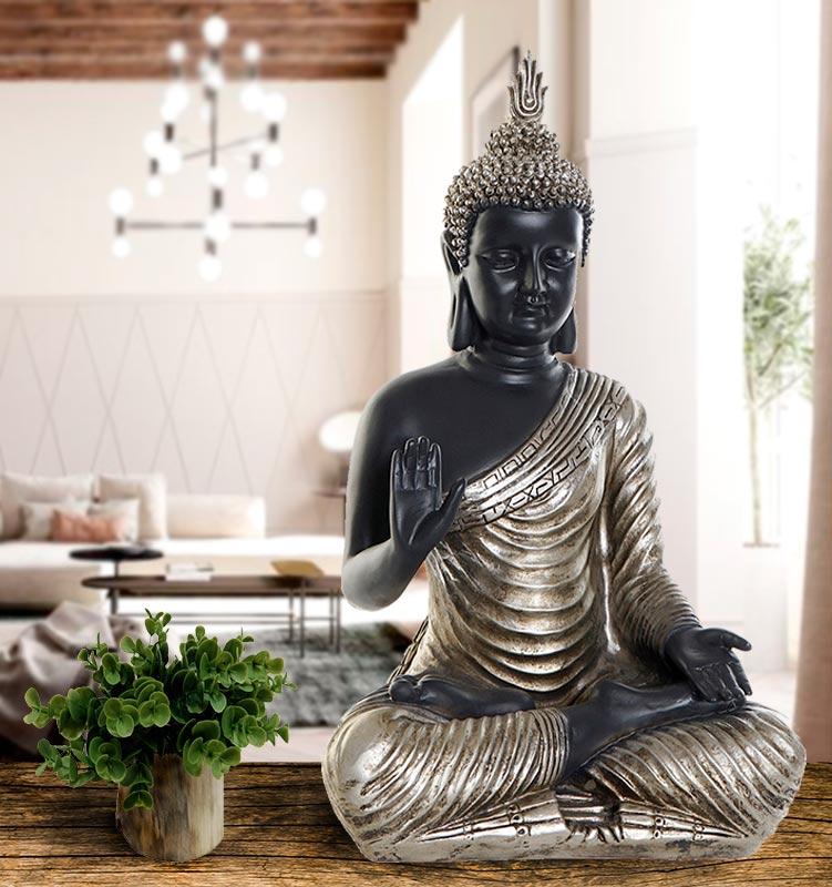 decoracion zen budas plateados