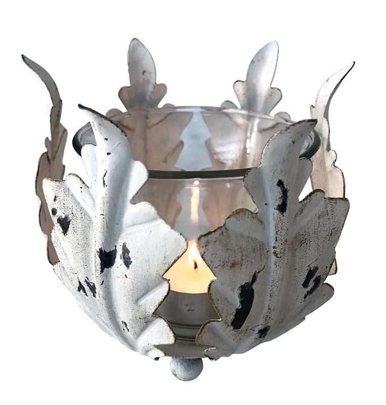 candelabro vela en metal rustico