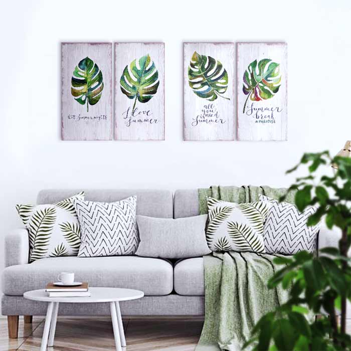 cuadros para sofas tropicales