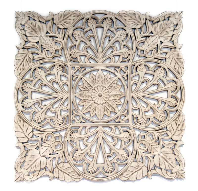 Estudio delier cuadro roseton madera 120x120 for Mandalas de decoracion para pared