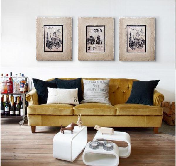 cuadros rusticos para sofas