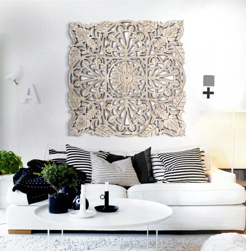 Estudio delier cuadro roseton madera 120x120 - Cuadros para decoracion ...