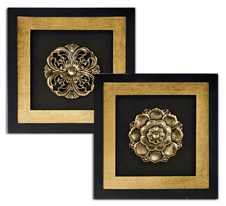 cuadros mandalas oro y negro