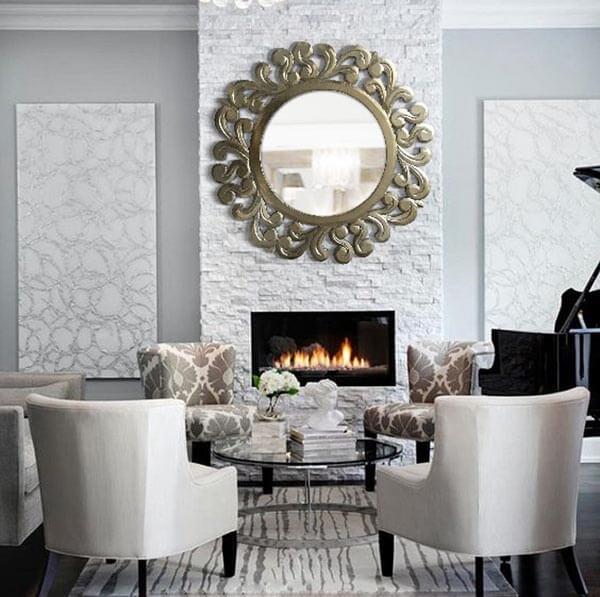espejos plateados chimeneas