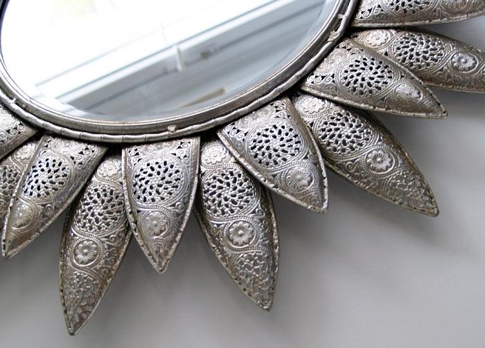 Estudio delier espejo plateado flor for Espejos decorativos plateados