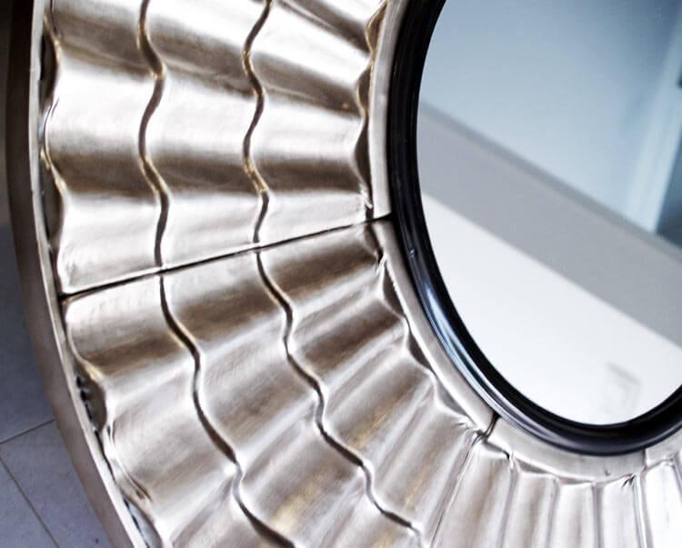 Estudio delier espejo plateado metal for Espejos plateados
