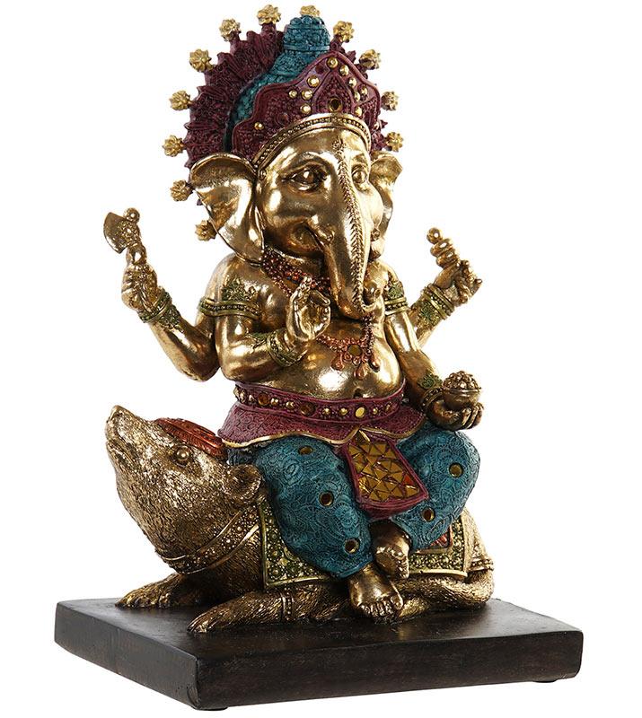Figura Ganesha policromada