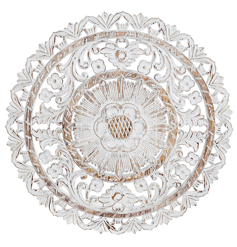 Mandala roseton calada en madera blanca