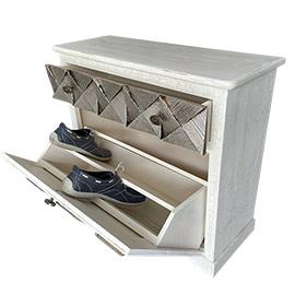 Muebles zapateros para la entrada, pasillo o dormitorio, este original mueble cuenta con un cajón, esta decorado en plata champan y blanco viejo