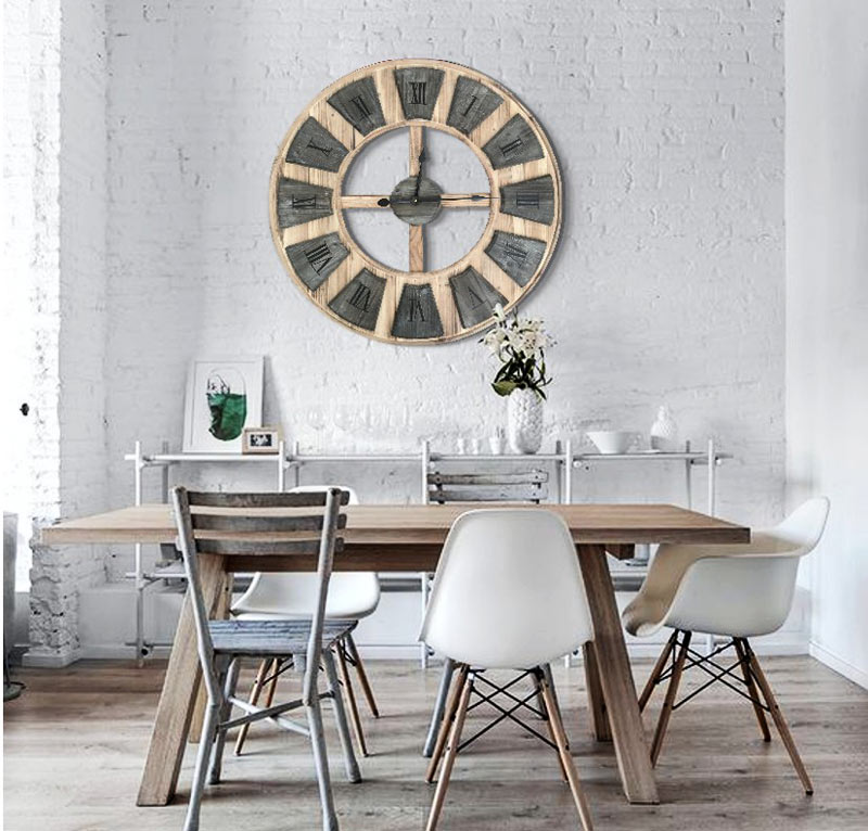 Estudio delier reloj de pared madera for Reloj pared estilo industrial