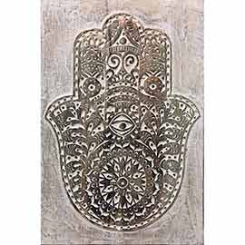 Mano de Hamsa, Jamsa o fatima, También conocida como la mano divina. cuadro tallado en madera, perfecto para colgar en el pasillo, entrada o como cuadros para el baño