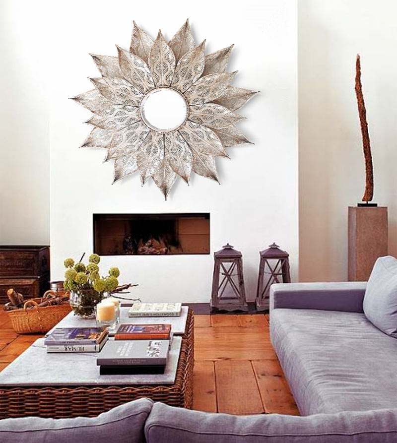 Estudio delier espejo plateado marruecos for Espejos decorativos para chimeneas
