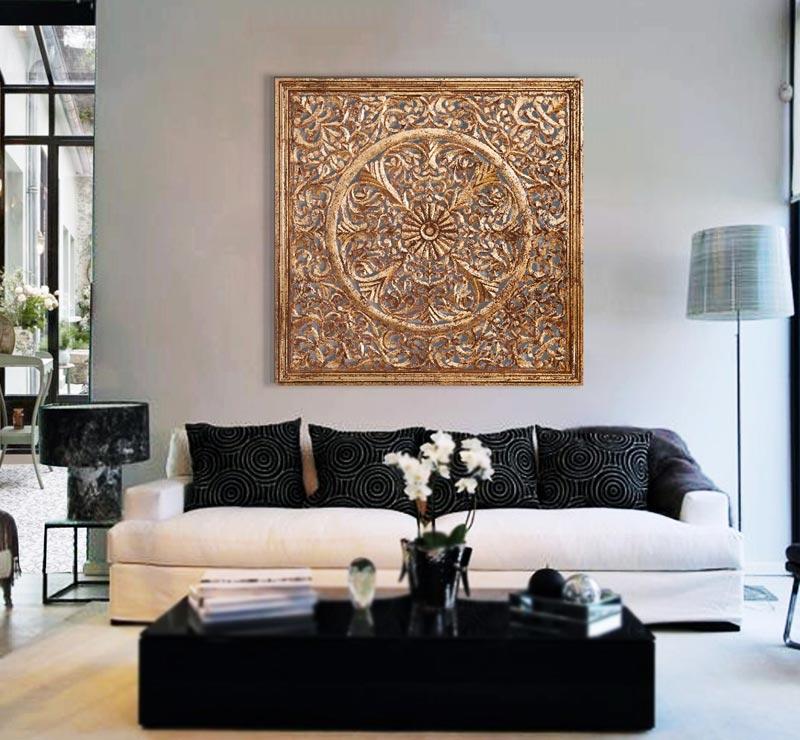 Estudio delier cuadro roset n madera oro for Cuadros decorativos clasicos