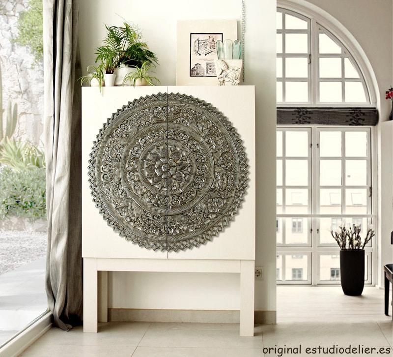 Estudio delier armario mandala blanco plata - Muebles salon originales ...