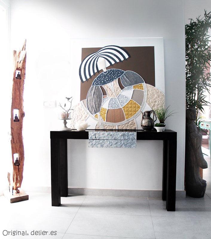 Estudio delier consola zen negra plata - Consola muebles entrada ...
