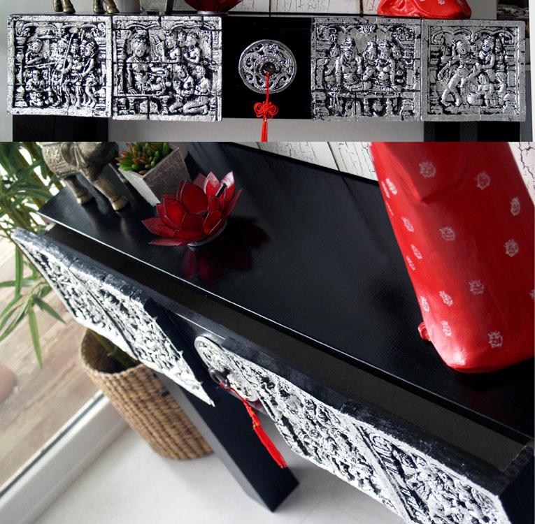 muebles en negro y plata oriental