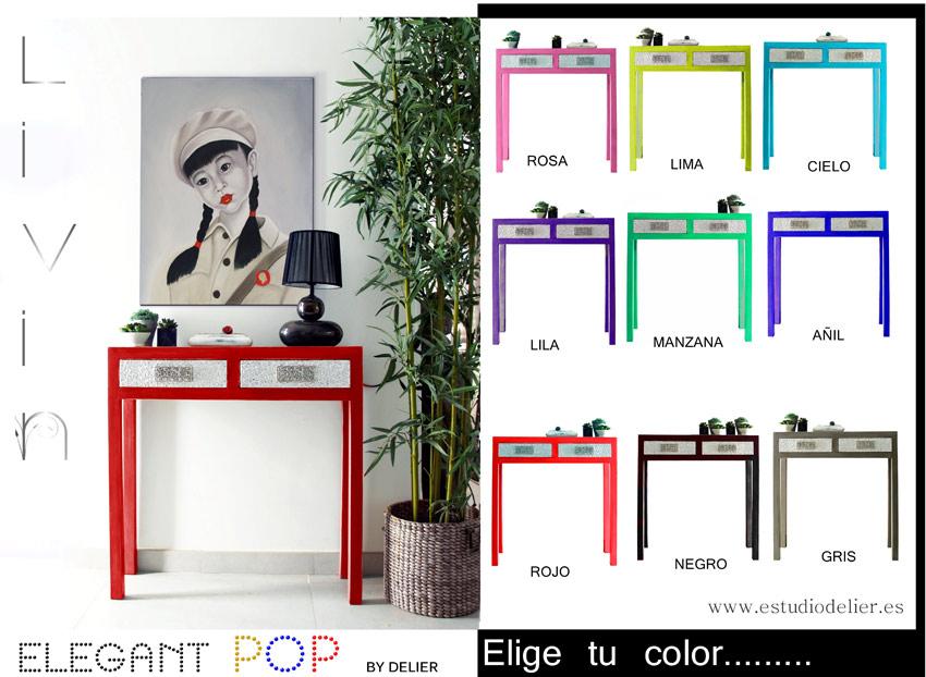 Estudio delier consola entrada livng 80x80x25 elige color for Muebles de entrada de diseno