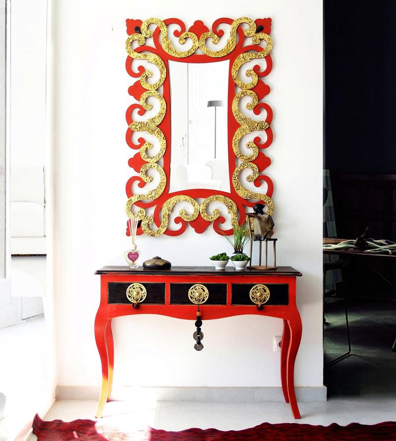 Estudio delier consola entrada tudor roja for Muebles de entrada de diseno