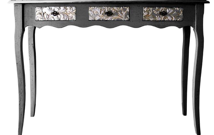 muebles consolas negro plata clasica