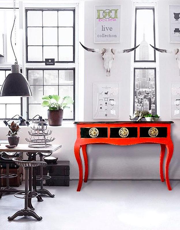 muebles modernos en rojo para entrada